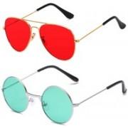 SRPM Aviator, Round Sunglasses(Red, Green)