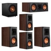 Klipsch 5.1 Walnut System 2 RP-500M Bookshelf Speakers, 1 Klipsch RP-500C Center Speaker, 2 Klipsch RP-500M Surround Speakers, 1 Klipsch SPL-100 Subwoofer