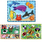 Melissa & Doug Sea Life, Farm, and Insects Wooden Chunky Puzzle Bundle (Set of 3)