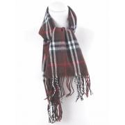 Bruine geruite wooltouch sjaal met franje