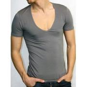 Doreanse Однотонная мужская футболка серого цвета с глубоким вырезом Doreanse City 2820c30