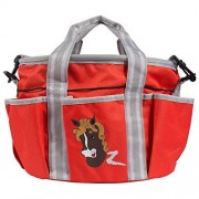 HORZE Scout Grooming Bag, Polar Gray/Deep Coral Pink