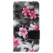 Capa tipo Carteira Floral para LG K8 - Cinzento
