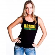 Bellatio Decorations Zwart Brazilie supporter singlet shirt/ tanktop dames