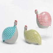 Set 3 poules céramiques colorées