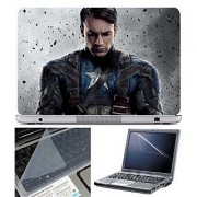 FineArts Laptop Skin Captain America Sad With Screen Guard and Key Protector - Size 15.6 inch