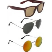Zyaden Wayfarer, Aviator, Round Sunglasses(Brown, Black, Multicolor)