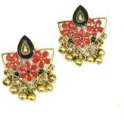 Digital Dress Women's Fashion Jewellery Earring Indian Traditional Light Weight Handmade Floral Black Red Enamel Work Design Gold-Plated Studded Drop Earrings Oxidized for Women Girls