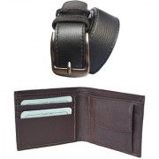 Ws deal men's black synthetic leather needle pin point buckle belt with brown synthetic leather wallet (combo)