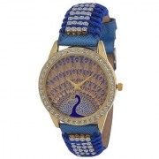 IIK Peacock Collection Blue Diamond Designing Stylist Looking Professional Analog Watch For Women Grils