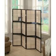 900166 4 panel espresso finish wood room divider shoji screen with center shelves
