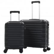 vidaXL 2 db fekete keményfalú ABS gurulós bőrönd