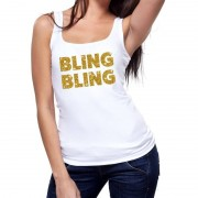 Bellatio Decorations Bling Bling glitter tanktop / mouwloos shirt wit dames S - Feestshirts