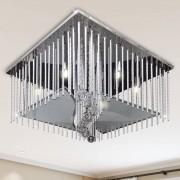 vidaXL Lâmpada do teto quadrada de cristal com tiras alumínio