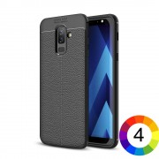 Samsung Galaxy A6 + (2018) Удароустойчив Litchi Skin Калъф и Протектор