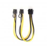 8 Pin A 8 Pin Doble(6+2Pin Pin) PCI-E SATA Cable De Alimentación De Vídeo Para Tarjetas Gráficas Negro Y Amarillo