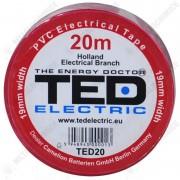TED Electric, Banda electroizolatoare, PVC, Rosu, 19 mm x 20 m