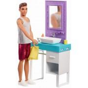 Set de joaca papusa Ken cu mobilier si accesorii baie - Barbie