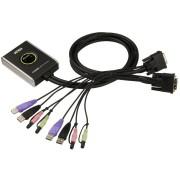 Mini Switch KVM USB Video DVI Audio e Microfono, CS682