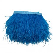 Imported Ostrich Feather Dyed Fringe 1 Yard Trim Lake Blue