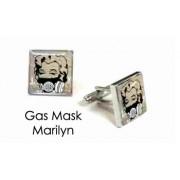 Tyler & Tyler Stencilart White Bricks Cufflinks Gas Mask Marilyn