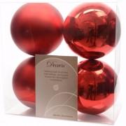 Geen Kerst kerstballen rood 10 cm Elegant Christmas 4 stuks