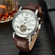 MCE elegante pulsera banda analogica reloj de pulsera - marron + blanco