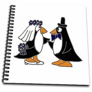 3dRose Funny Penguins Bride & Groom Wedding Cartoon - Memory Book 12 by 12-Inch (db_200179_2)
