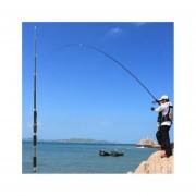 EH Telescópica de carbono caña de pescar Sea River Carp Spinning Pesca Polo Palo (Negro y café claro)