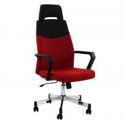 Scaun birou directorial rotativ, material textil, rosu-negru
