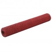 vidaXL piros PVC-bevonatú acél csirkeháló drótkerítés 25 x 1 m