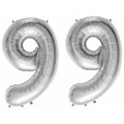 De-Ultimate Solid Silver Color 2 Digit Number (99) 3d Foil Balloon for Birthday Celebration Anniversary Parties