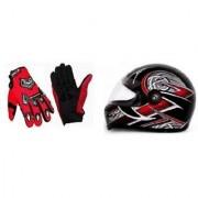 Combo Red Knighthood Gloves+Stylish ISI Dual Visor Helmet