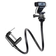 "Etubby Adjustable 26"" Gooseneck Desktop Webcam Stand Holder Flexible Jaw Camera Desk Clamp Mount for Logitech Webcam Brio 4K, C925e, C922x, C922, C930e, C930, C920, C615 and More (1/4"" Threaded)"