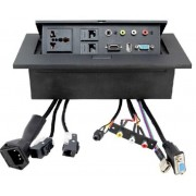 Gas Popup Panel with 2pin AC plug for HDMI, VGA, Audio, Composite, USB & RJ45 Networking