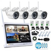 Jennov 4 Channel CCTV Wireless WiFi IP Security Camera System 12 LCD HD Monitor 1080P NVR Kit 960P Bullet Cameras Home Outdoor Indoor Video Surveillance Mobile Phone Remote View (No Hard Drive)