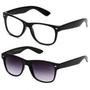 Gansta Gn3006Blk-Gn3002 Black Lenses Clear Lens Wayfarer Sunglasses Combo