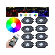 Kit Mini RGB Rock Light Bluetooth APP Sensore Musica Con 8 Luci Led 12V 24V IP68 Sottoscocca Per Jeep Off Road SUV Barca