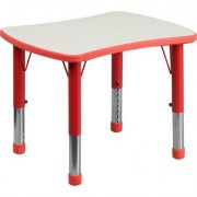 Flash Furniture Preschool Rectangular Activity Table with Height-Adjustable Legs - Red w/Gray Top, 21 7/8Inch W x 26 5/8Inch D x 14 1/2Inch-23 1/2Inch
