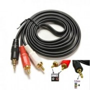 Кабел Digital One SS000035, от 3.5mm Jack(м) към 2x RCA Chinch(м), 1.5m, черен