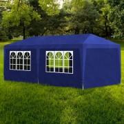 vidaXL Namiot imprezowy 3x6, 6 ścianek, niebieski