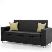 Earthwood - Fully Leatherite Upholstered Three-Seater Sofa - Classic Florence Black