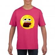 Bellatio Decorations Emoticon moe t-shirt fuchsia/roze kinderen