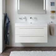 Treos Serie 900 Mineralgussbecken mit Waschtischunterschrank mit 2 Auszügen b-wood (Melamin) ohne Hahnloch
