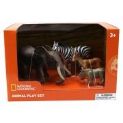 Set 4 figurine Mamut, Rinocer, Zebra, Antilopa National Geographic, 3 ani+
