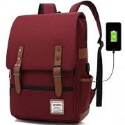 MCWTH T Mochila para portátil de viaje, delgada, durable, con puerto de carga USB, resistente al agua para colegio y estudiante, bolsa de computadora para mujeres y hombres, compatible con portátiles de 15,6 pulgadas y cuaderno, Vino, Fits up to 15.6'
