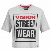 Vision Street Wear Dames Fitness Cropped T-shirt CL3103 gemêleerd grijs - grijs - Size: Large