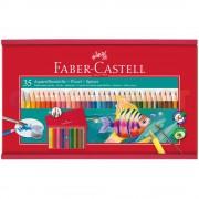 Creioane colorate acuarela si pensula 35 culori/set FABER-CASTELL cutie lemn, FC114415