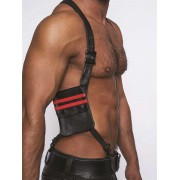 Mister B Leather Wallet Harness Black/Red 601304