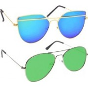 Poloport Aviator, Butterfly Sunglasses(Blue, Green)